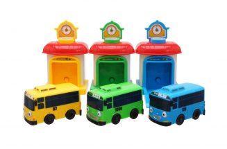 Тайо маленький автобус - Tайо, Роги, Лэни. Набор из 3-х автобусов с гаражами.
