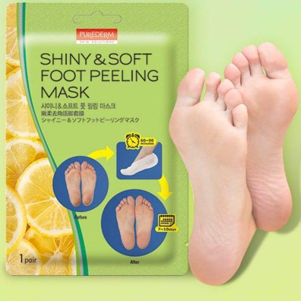Маска для пилинга ног Shiny&Soft foot peeling mask от Purederm