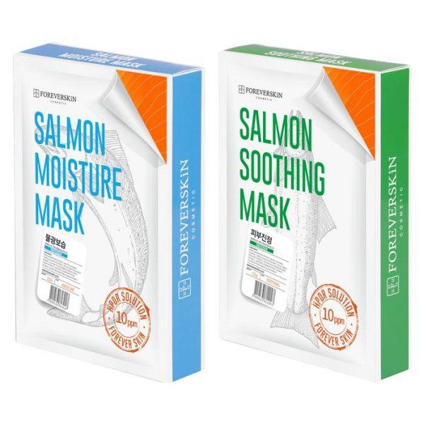Увлажняющая + Успокаивающая Лососевая маска от Foreverskin (1+1)
