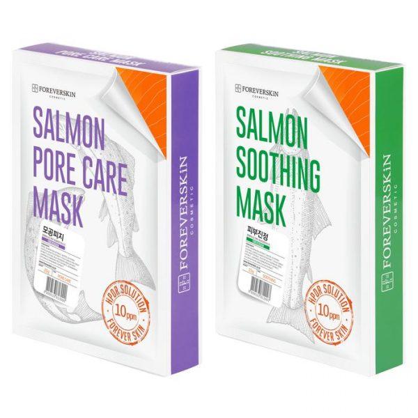Сужающая поры + Успокаивающая Лососевая маска от Foreverskin (1+1)