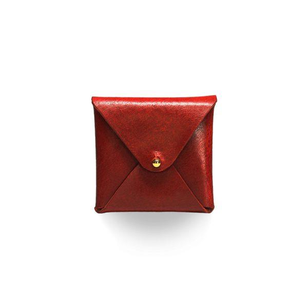 Кожаный чехол для презервативов ручной работы (красный)