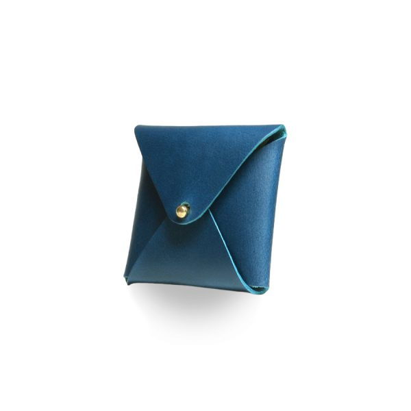 Кожаный чехол для презервативов ручной работы (синий)