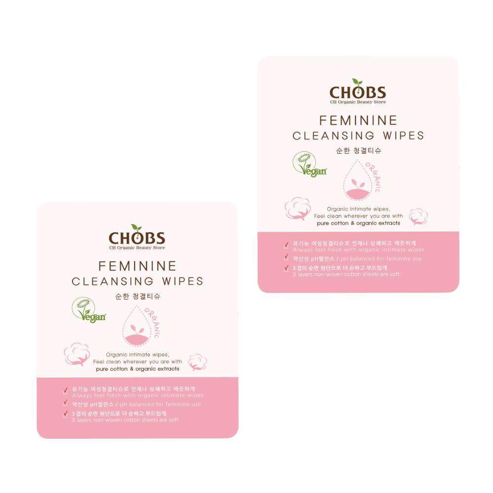 Влажные гигиенические салфетки CHOBS Feminine Cleansing Wipes