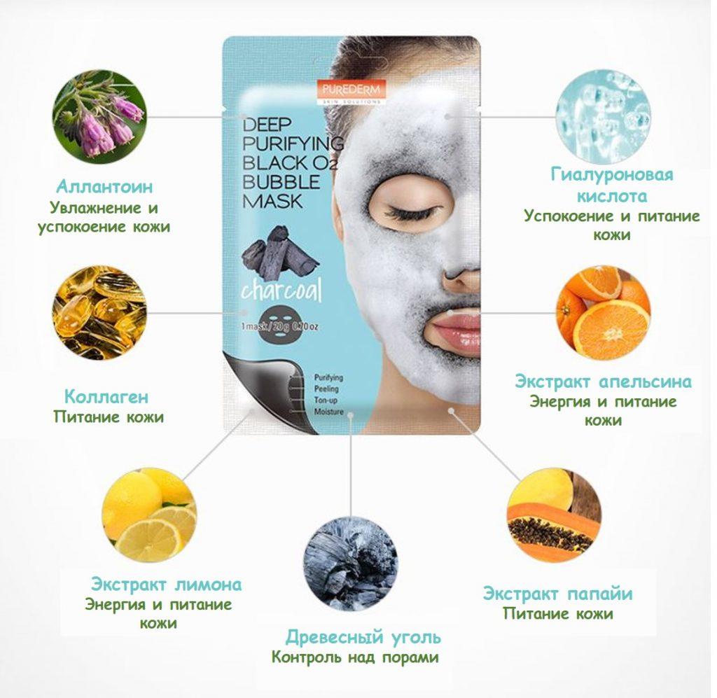 маска Deep Purifying Black O2 Bubble компоненты